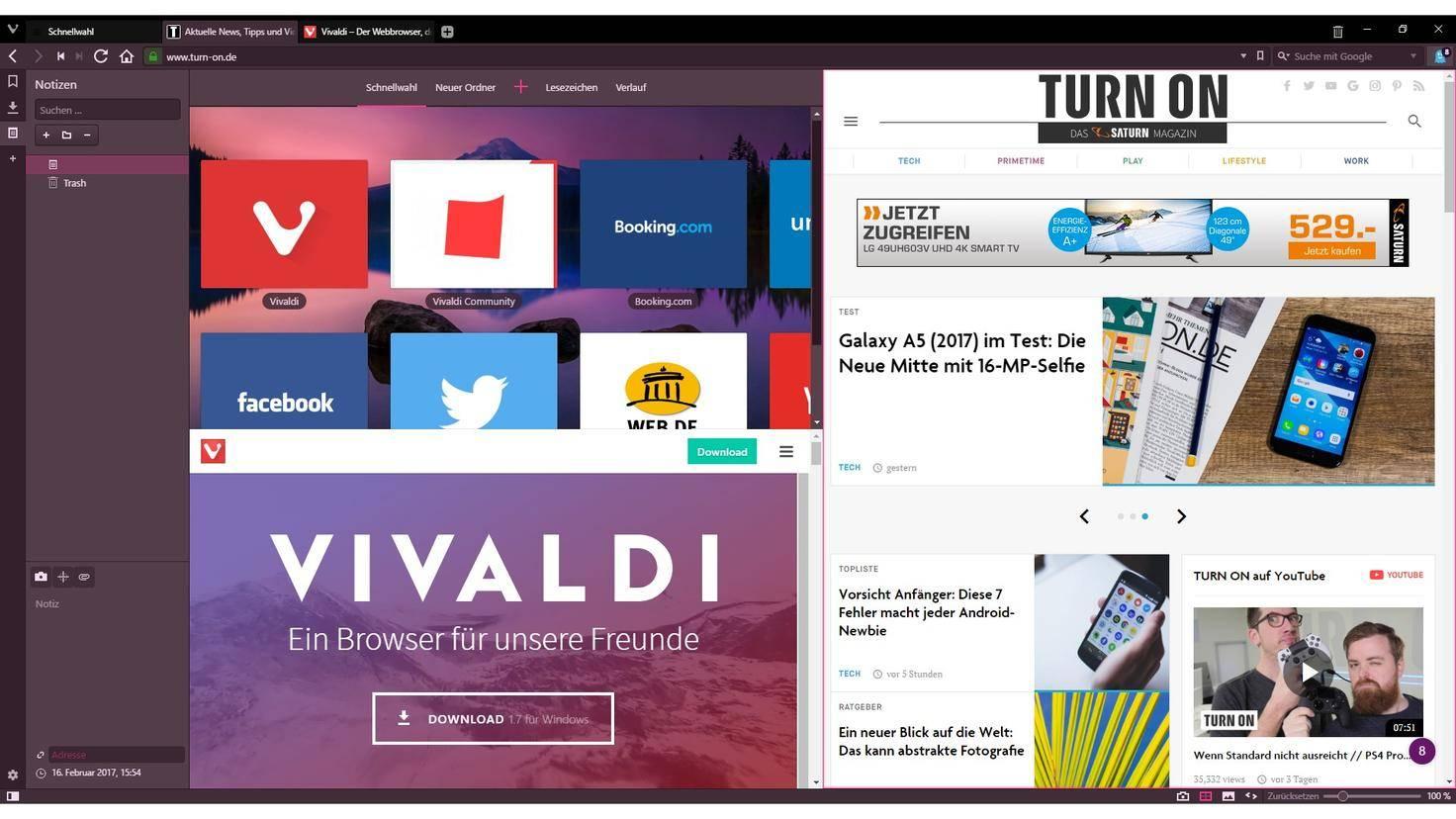Vivaldi Browser Kachelansicht