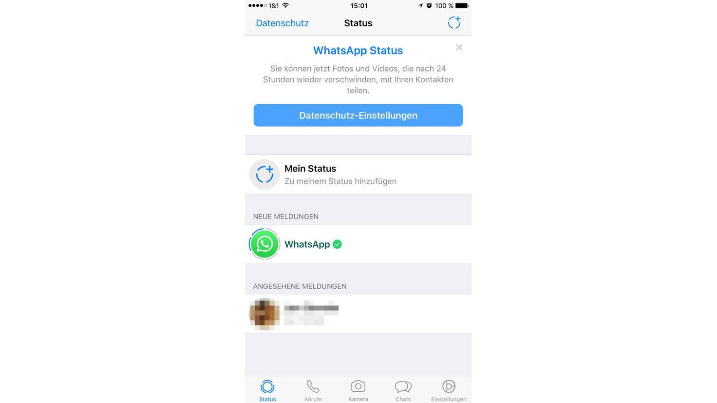 So sieht der neue Status-Bildschirm in WhatsApp aus.