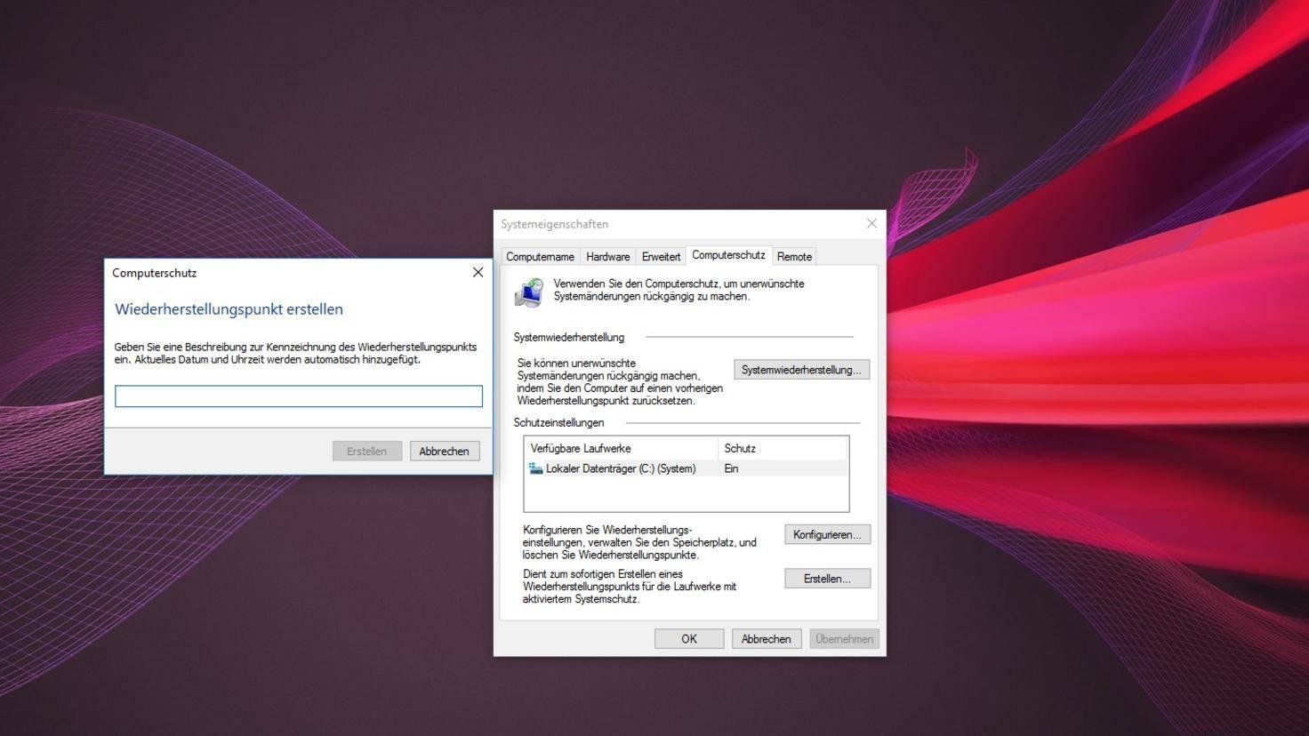 Windows 10 Wiederherstellungspunkt