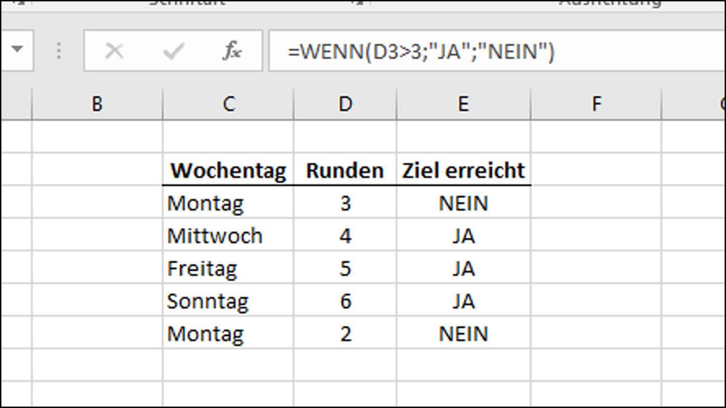 Wenn-Dann-Funktion in Excel