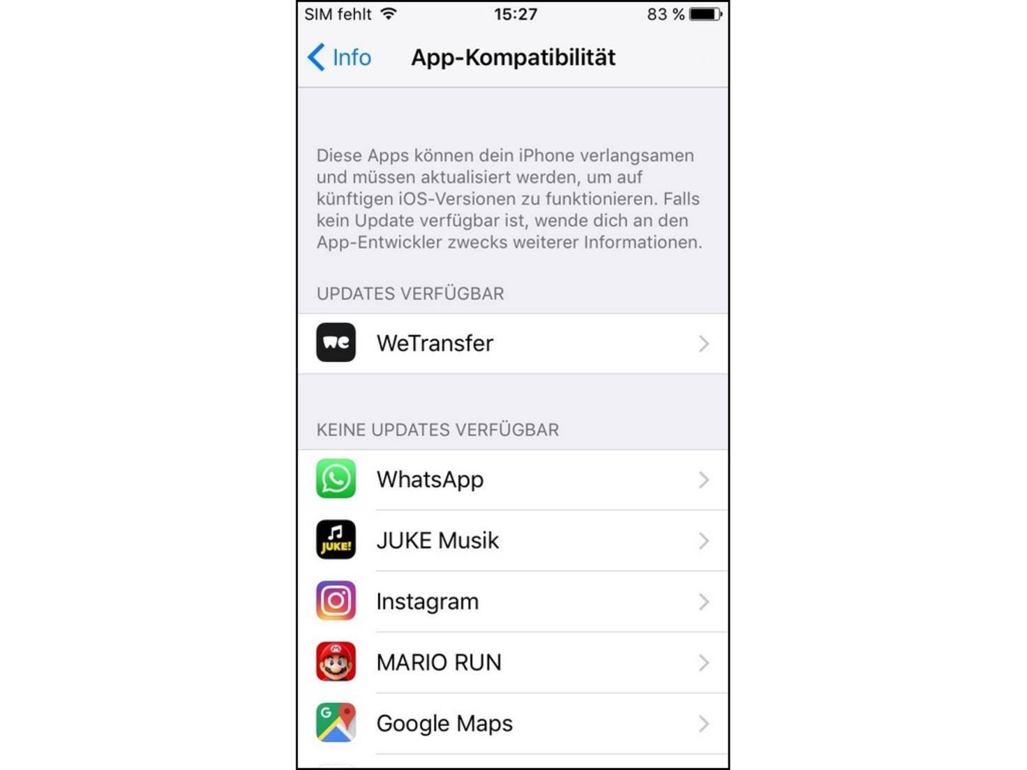App Kompatibilität