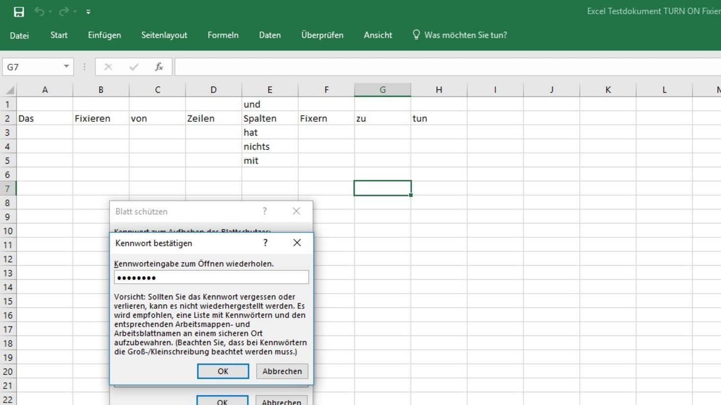 Excel Blattschutz aufheben 2