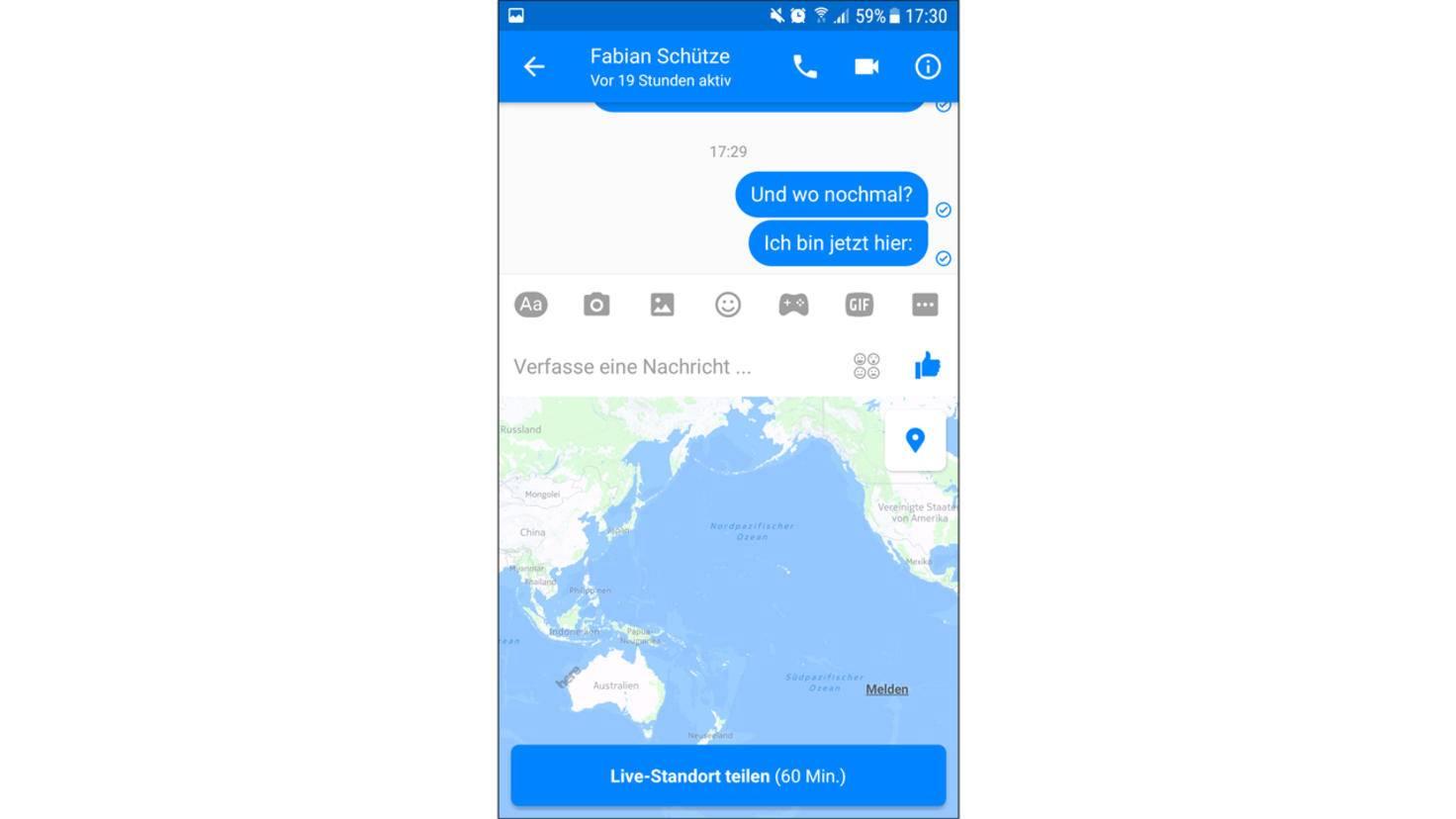 Um den Standort teilen zu können, muss GPS aktiviert sein.