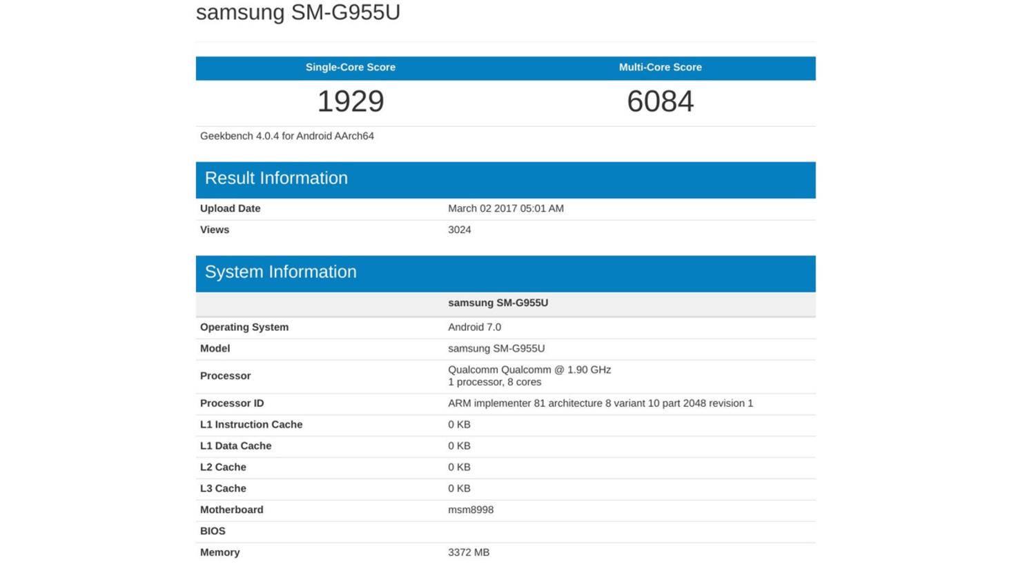 Galaxy S8 Plus Geekbench