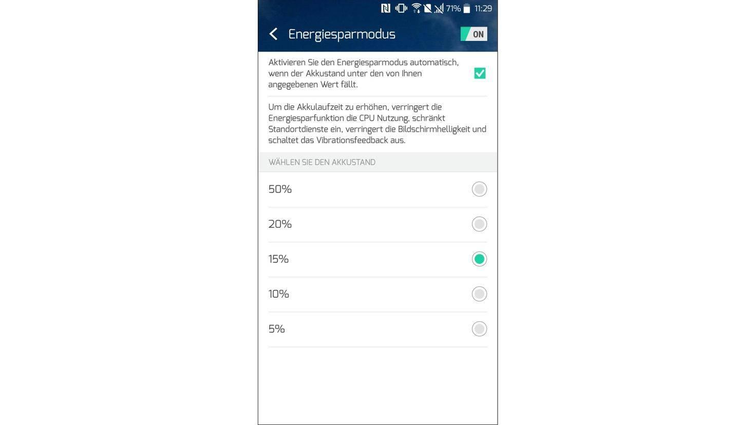 HTC U Play Energiesparmodus