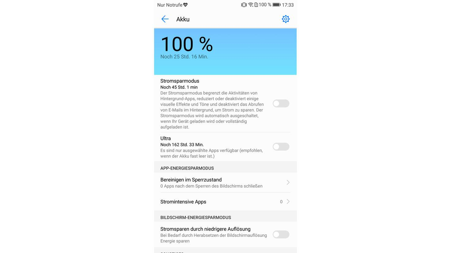 Huawei P10 Akku sparen