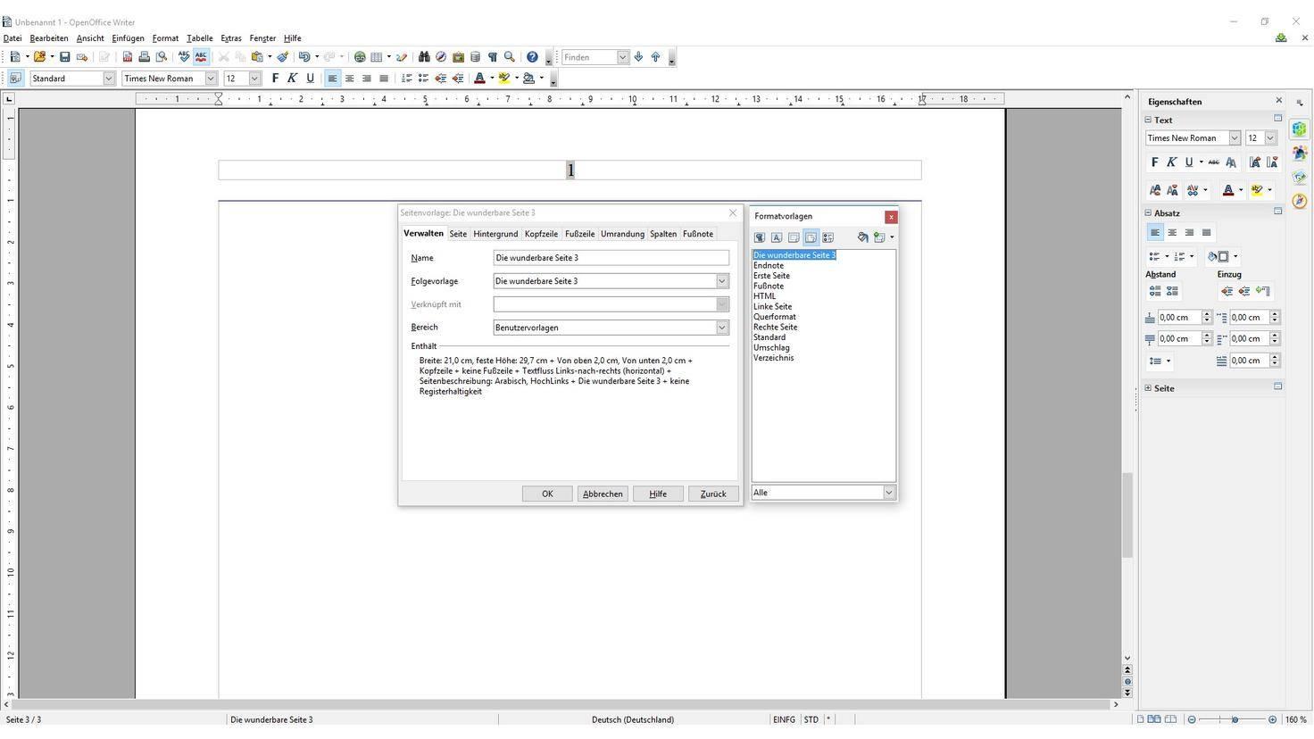 Open Office Seitenzahlen