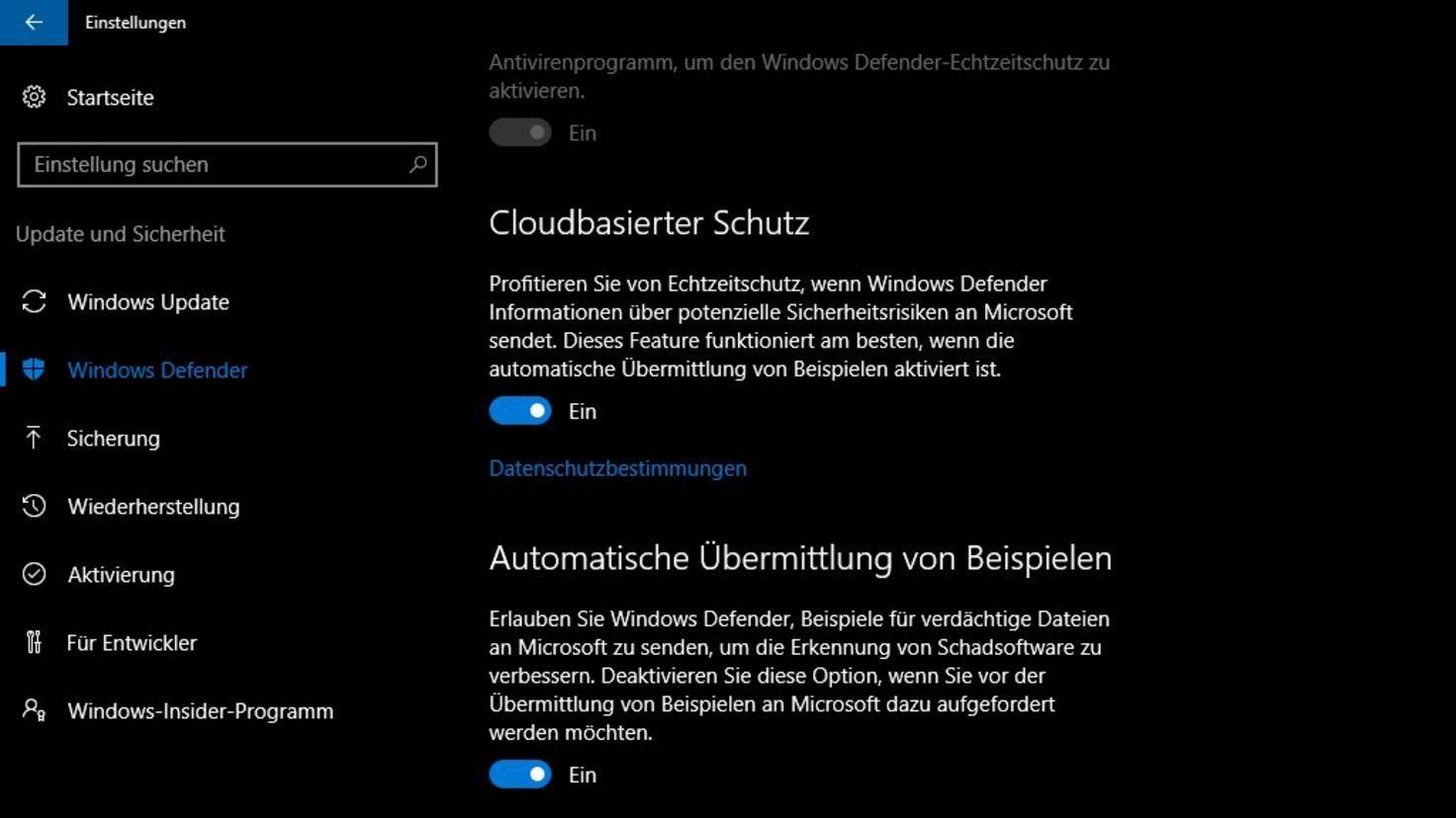 Windows Defender Cloudbasierter Schutz