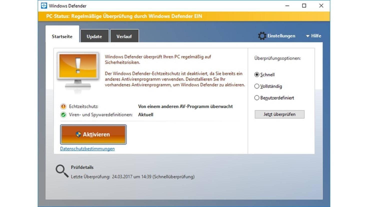 Windows Defender Vollständige Prüfung