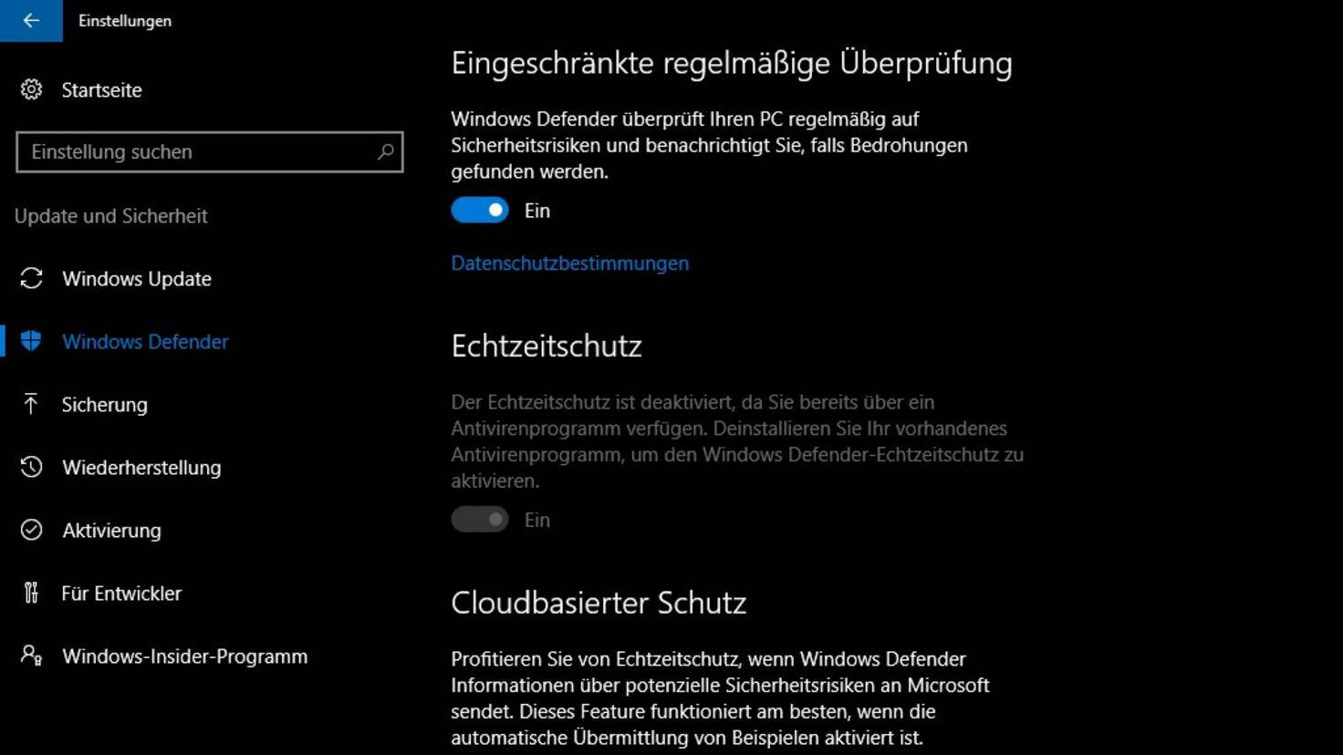 Windows Defender Zweitvirenscanner