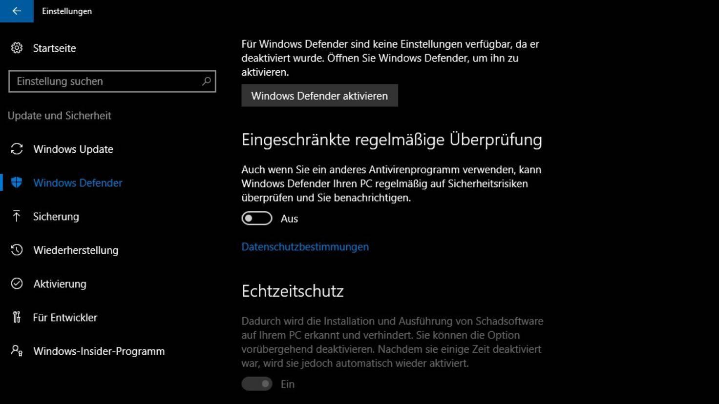 Windows Defender deaktivieren