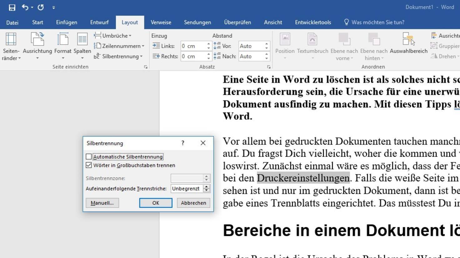 Word Silbentrennung Dokument