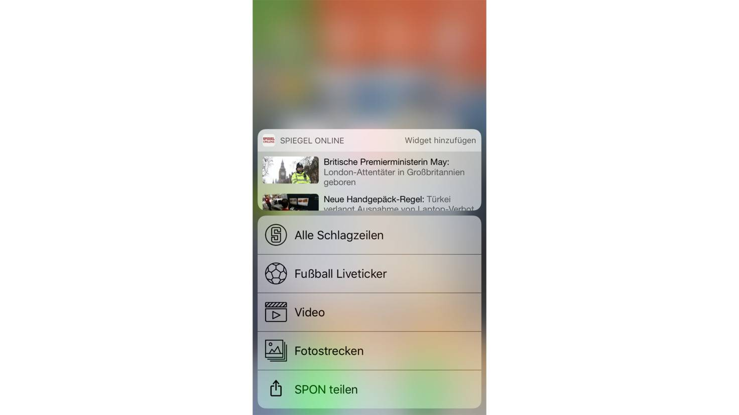 Auch per 3D-Touch lassen sich Widgets einstellen.