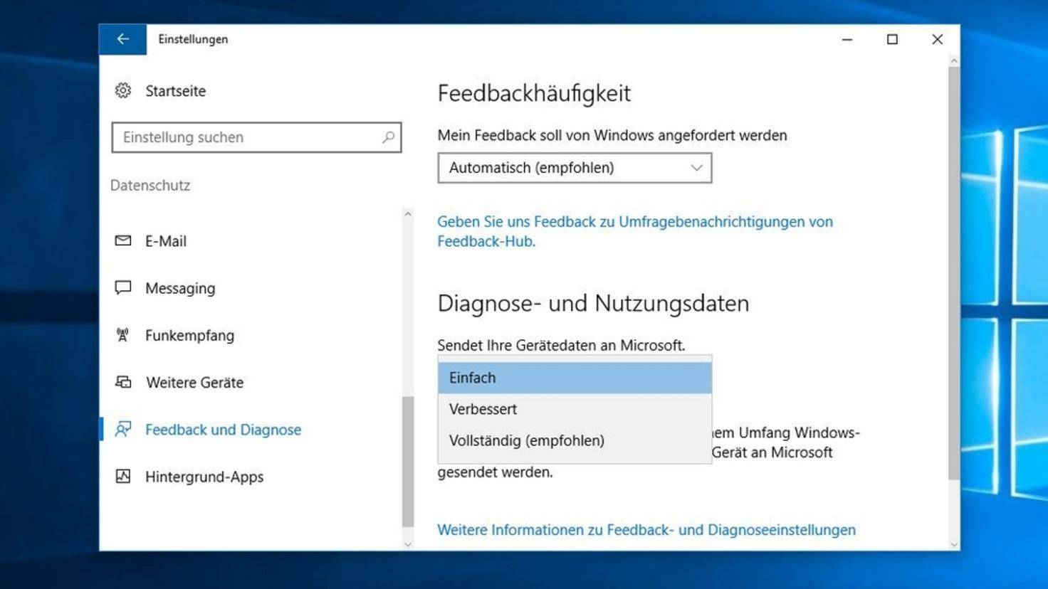 Datenschutz Windows 10 alt