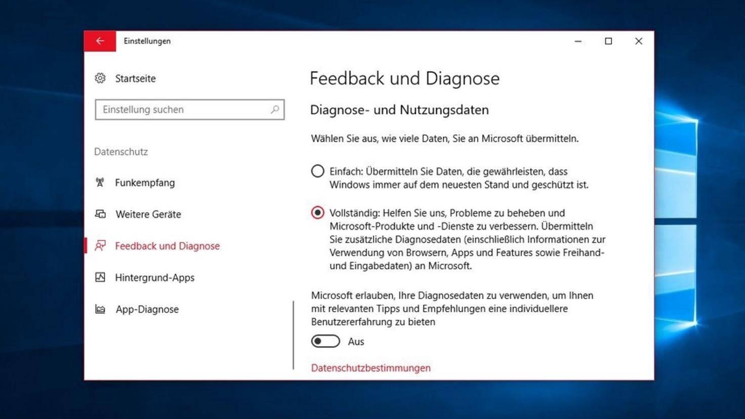 Diagnoledaten Windows 10 neu