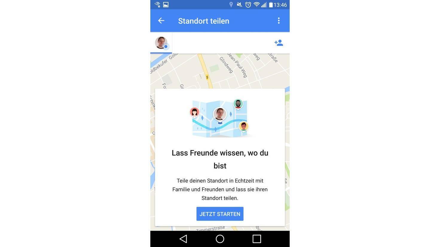 Google Maps Standort teilen