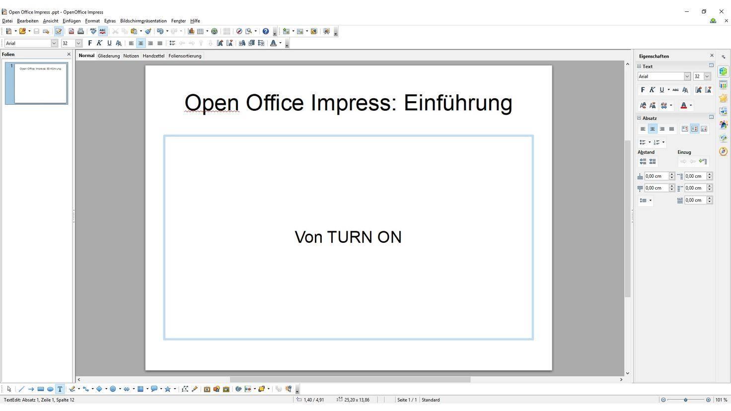 Hintergrund andern bei open office prasentation
