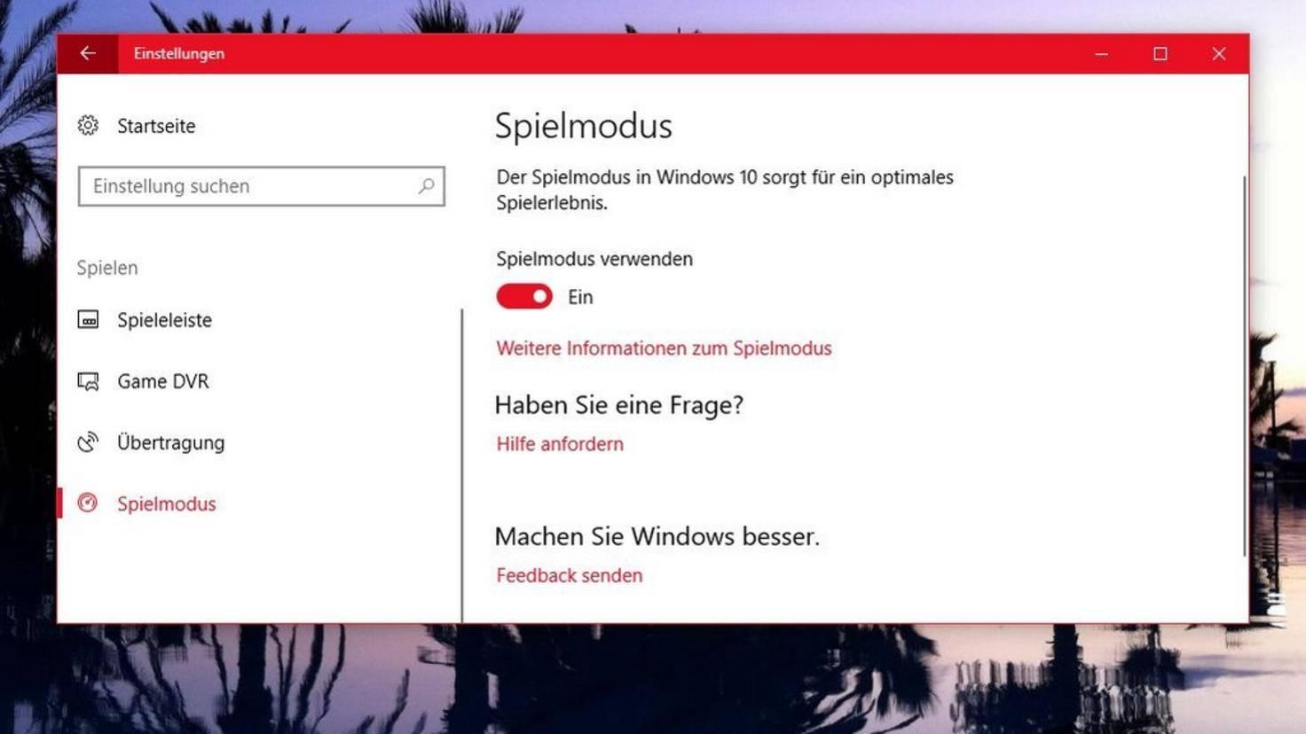 Spielmodus Windows 10