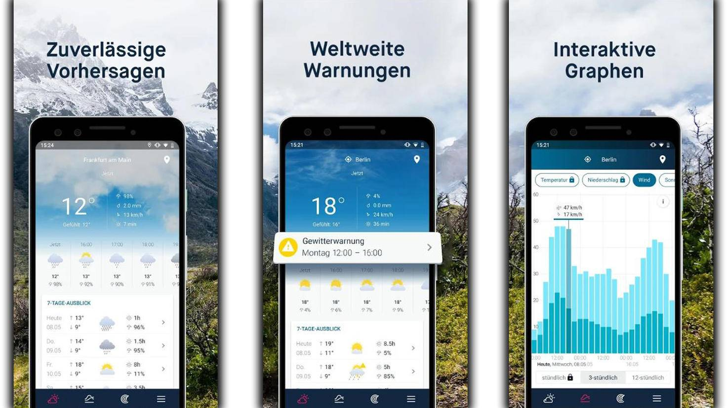 WeatherPro bietet animierte Wetterinformationen.
