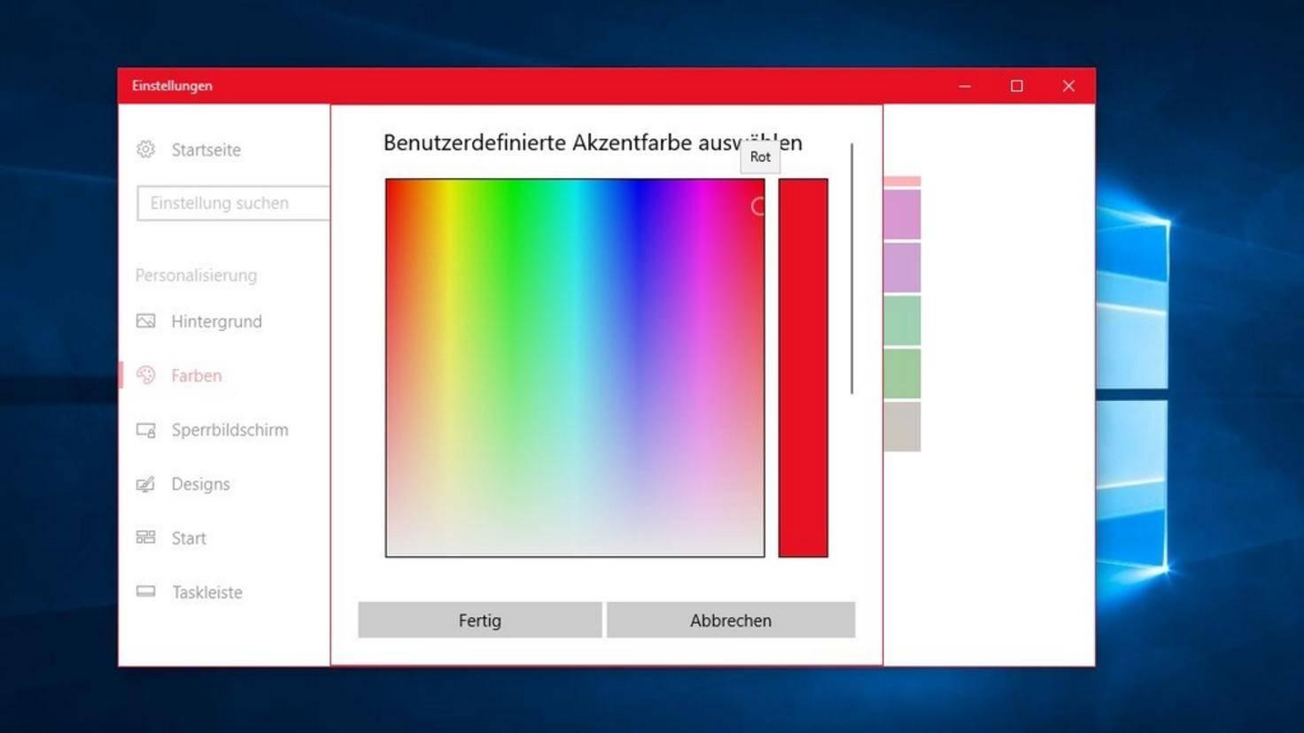 Windows 10 Farbe