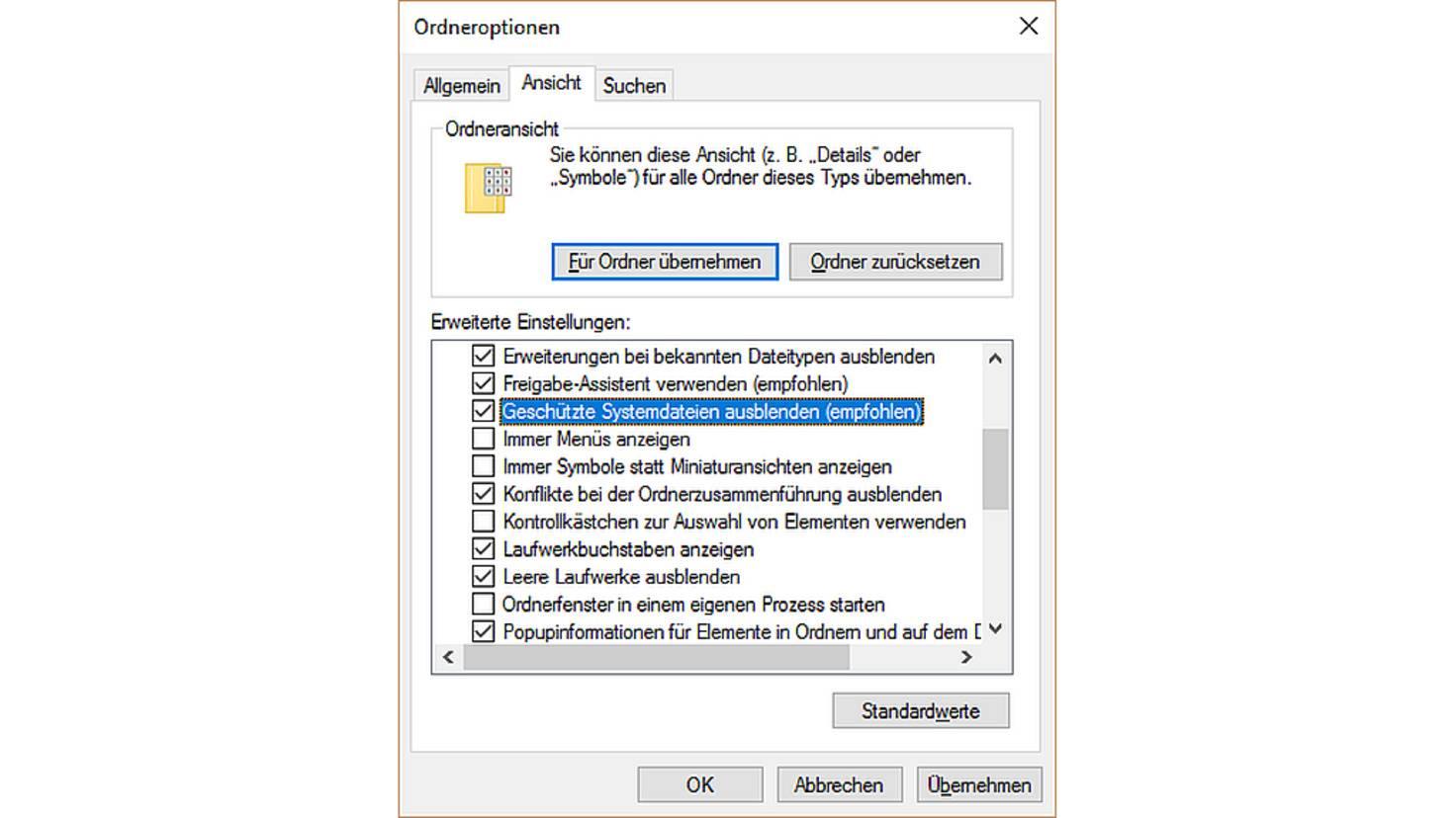 Windows 10 Systemdateien ausblenden
