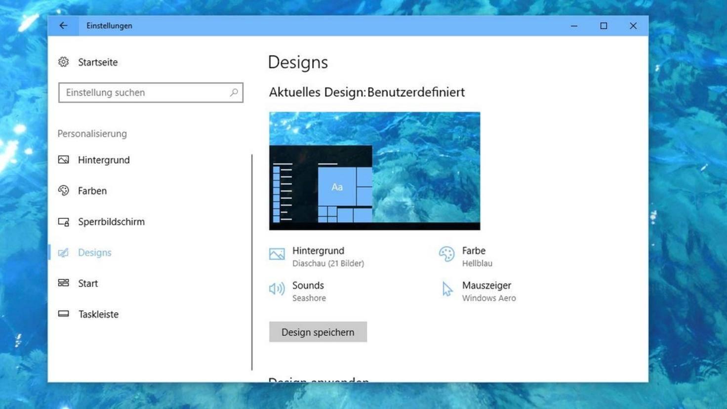 Windows 10 Wasser Design
