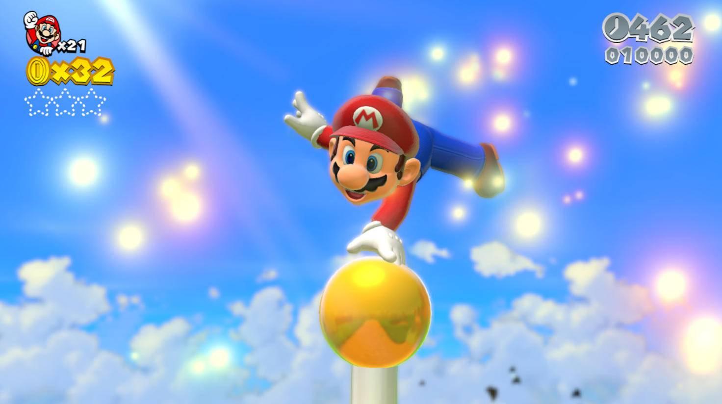 """In """"Super Mario 64"""" fehlte die Fahne am Levelende. In """"Super Mario 3D World"""" für die Wii U durfte der Klempner wieder auf dem Flaggenmast turnen – auch in 3D."""