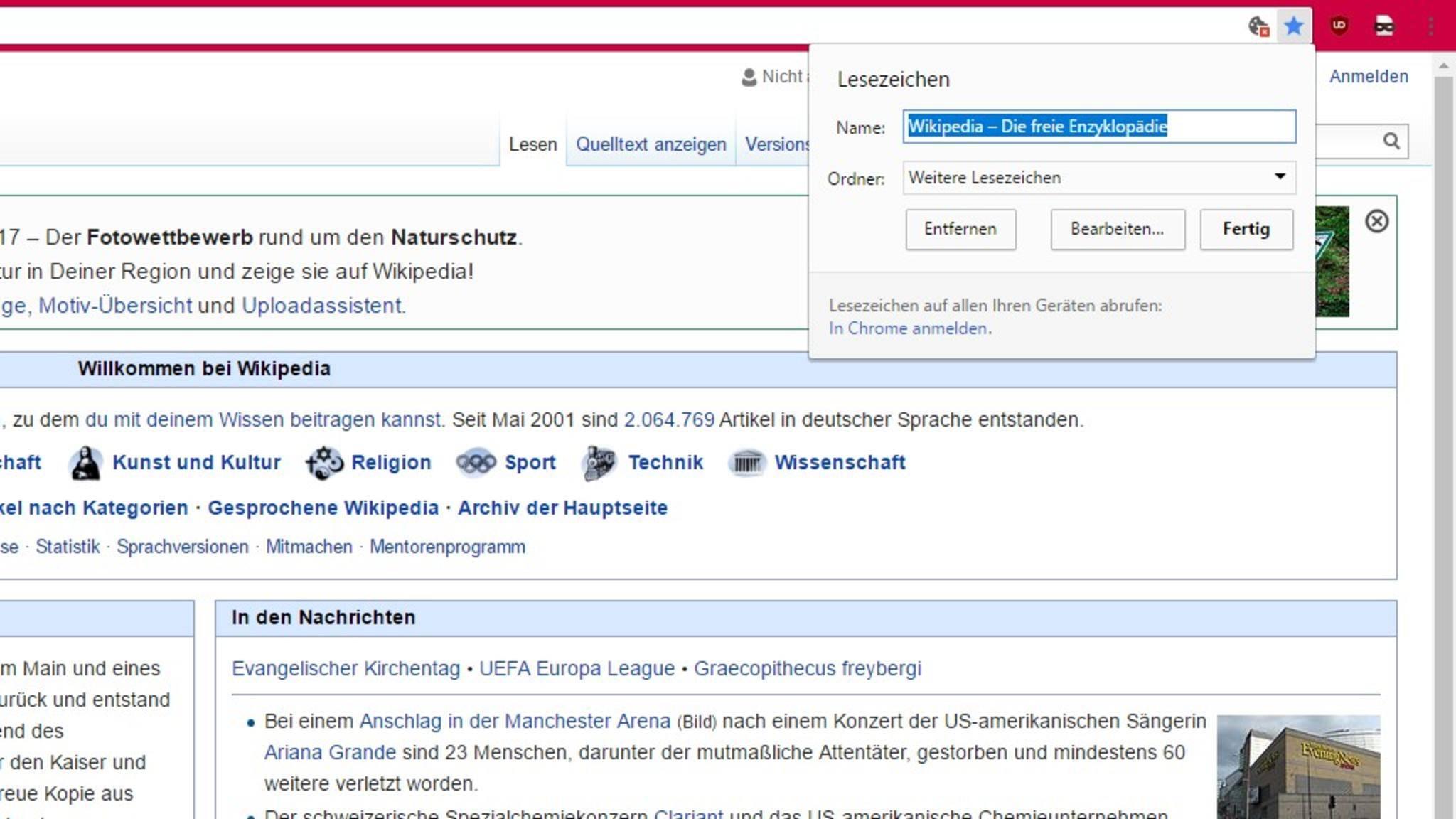 Chrome-Lesezeichen-Wikipedia