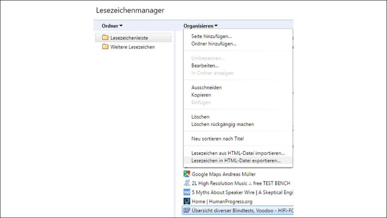Chrome-Lesezeichenmanager-Exportieren