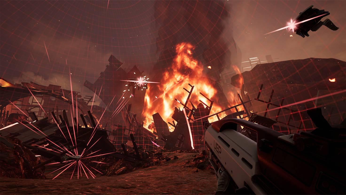 Weiter entfernte Gegner visierst Du mit dem VR-Ziel-Controller wie mit einem echten Gewehr über Kimme und Korn an.