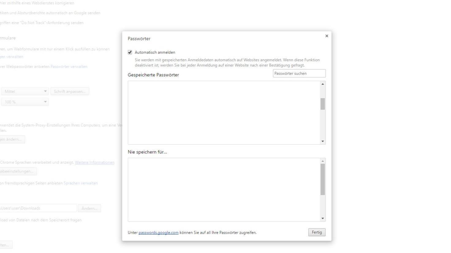 gespeicherte passwörter google