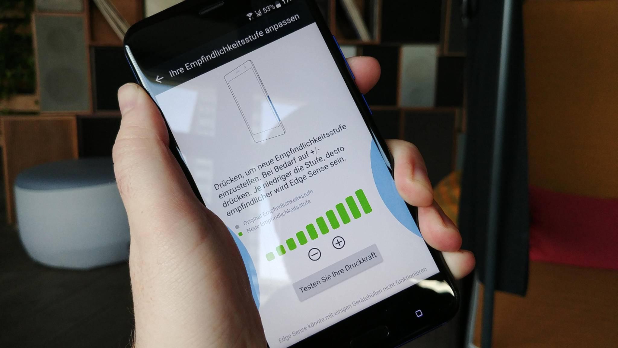 Die Druckstärke wird in der App Edge Sense geregelt.