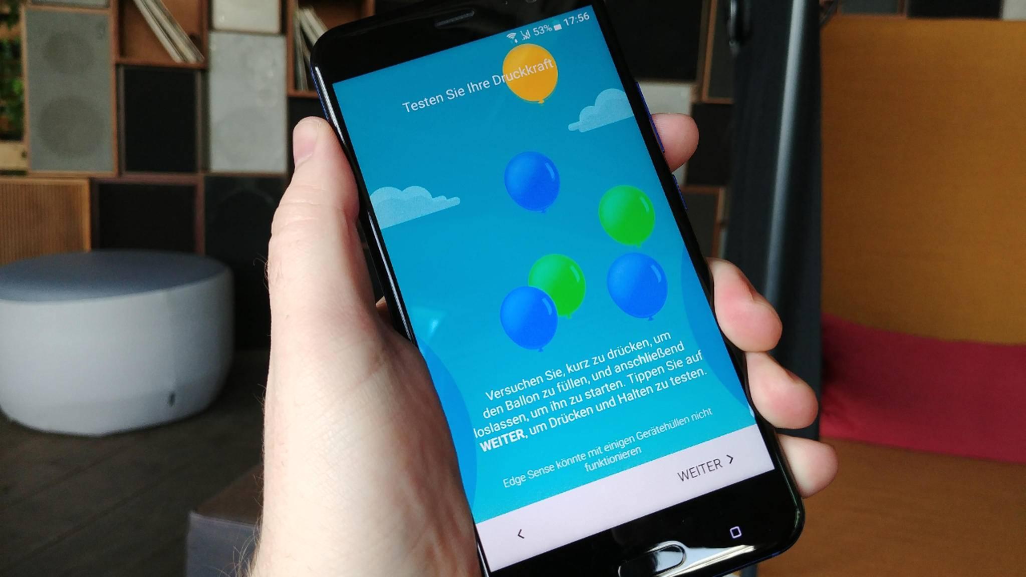 Das HTC U11 hat einen druckempfindlichen Rahmen.