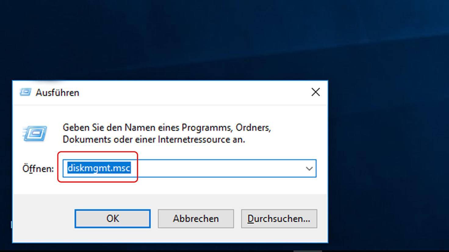 Windows auf SSD kopieren: Datenträgerverwaltung