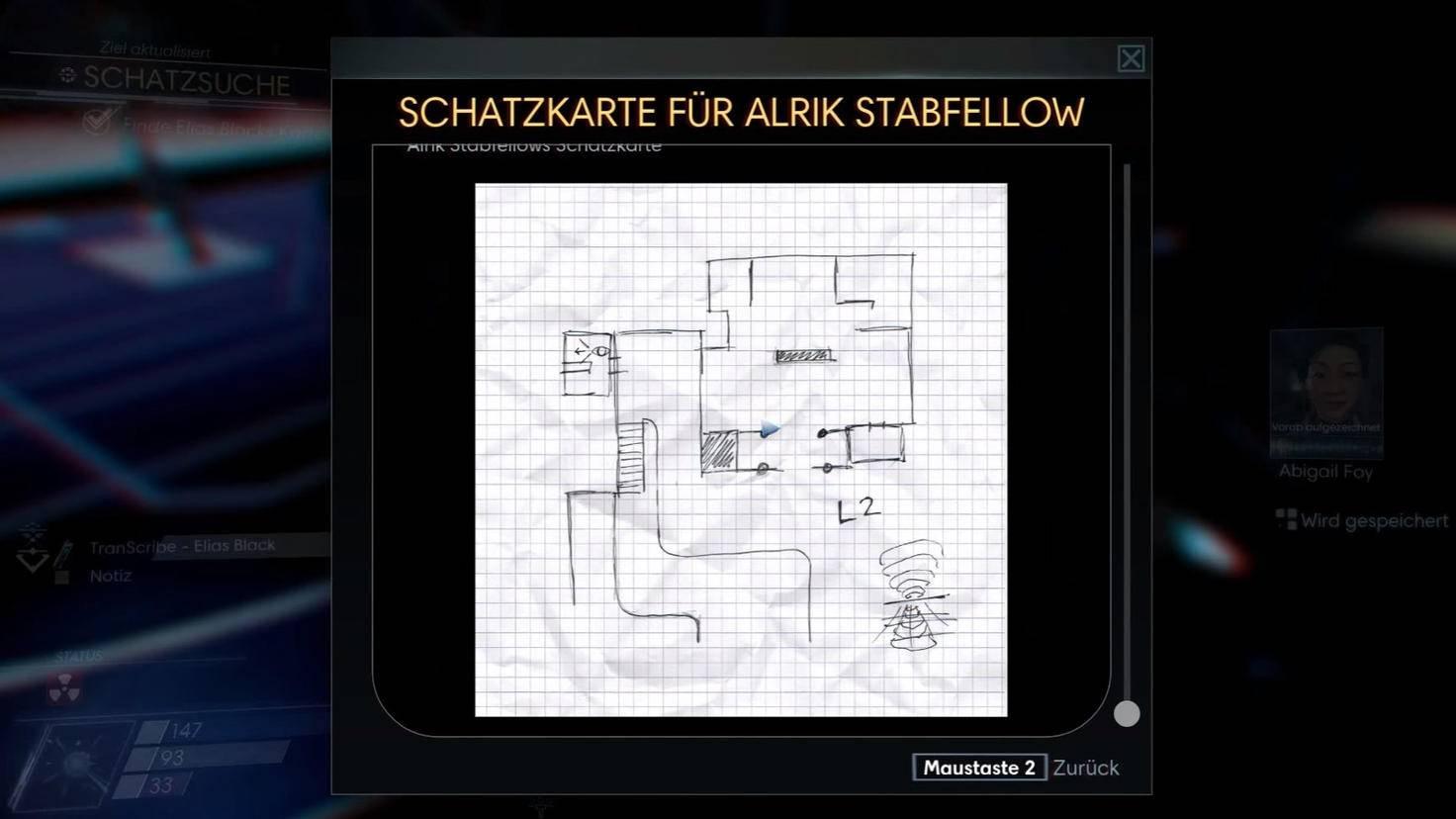 Die Schatzkarte von Elias Black zeigt den Recycler-Raum in den Besatzungsquartieren. Dort findest Du an der Wand die Ziffer 6.