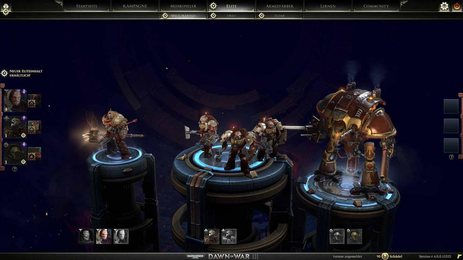 Zu Beginn einer Multiplayer-Partie wählen wir drei Elite-Einheiten aus.