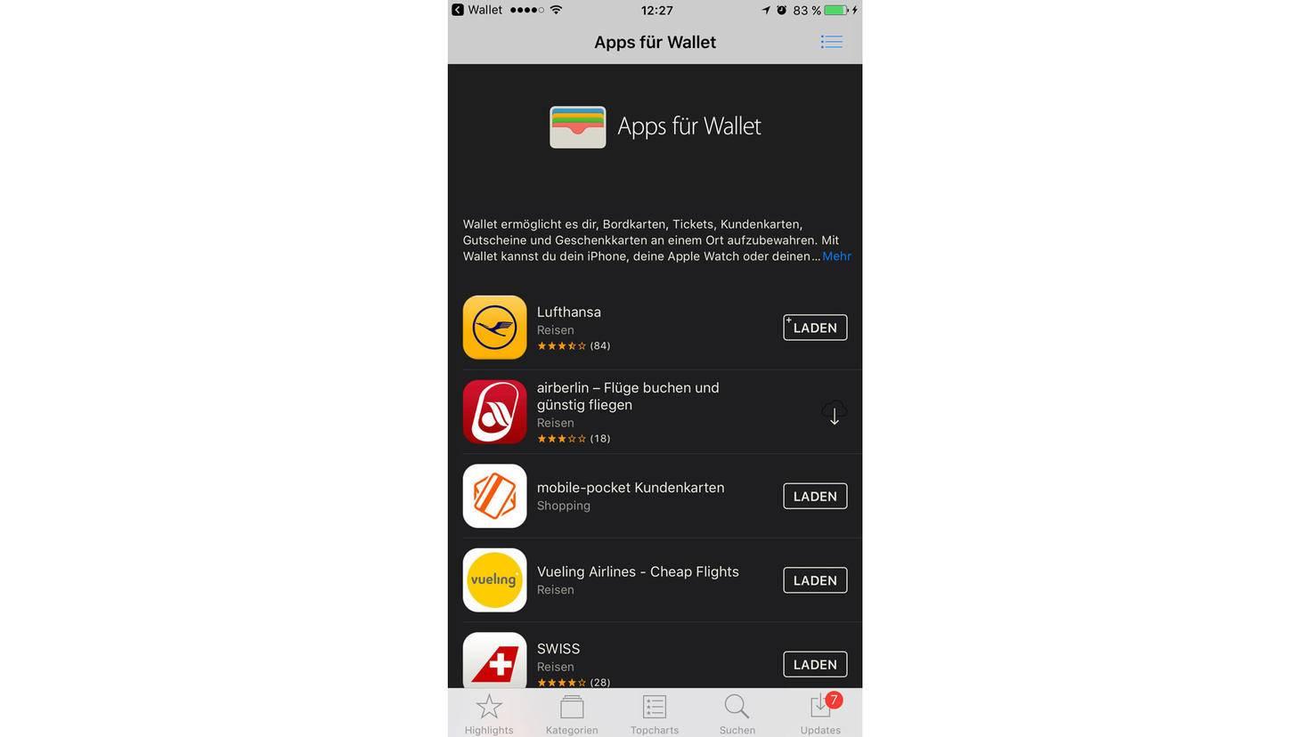 Im App Store werden alle Apps aufgelistet, die Wallet unterstützen.