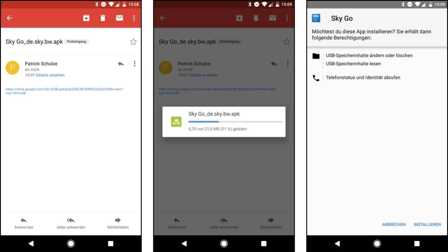 Nachdem Du Dir selbst eine Freigabe für die extrahierte App erteilt hast, kannst Du diese von Deinem eigenen Smartphone aus herunterladen.