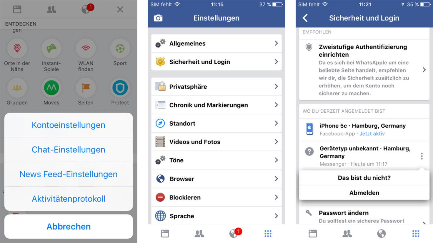 Facebook Messenger abmelden iOS
