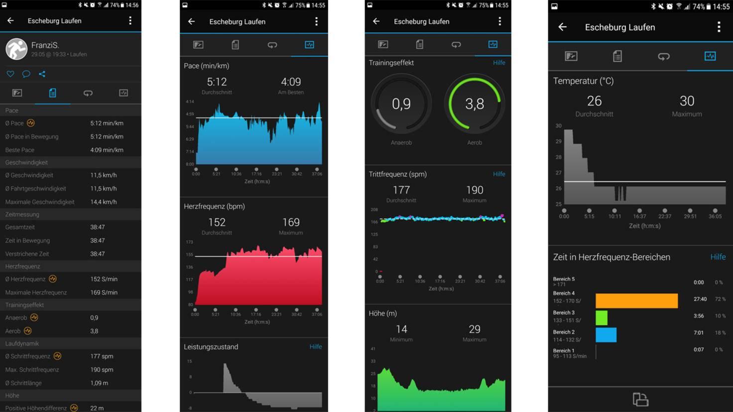 Je nach Sportart lassen sich anschließend zahlreiche Daten und Graphen auswerten.