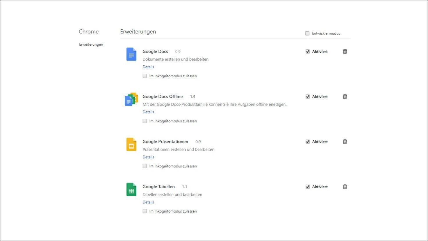Google-Chrome-Erweiterungen