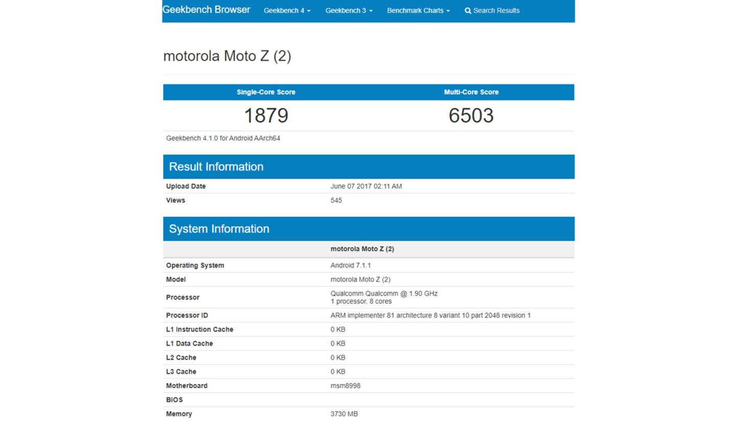 Moto Z2 Geekbench