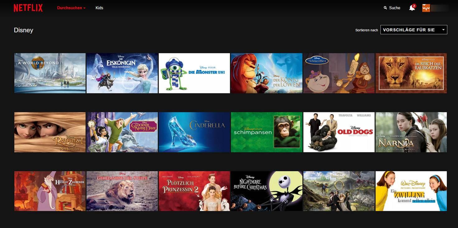 Nachdem Du hinter die URL die Zahl 67673 eingefügt hast, zeigt Dir Netflix alle Filme von Disney an, die sie im Angebot haben.