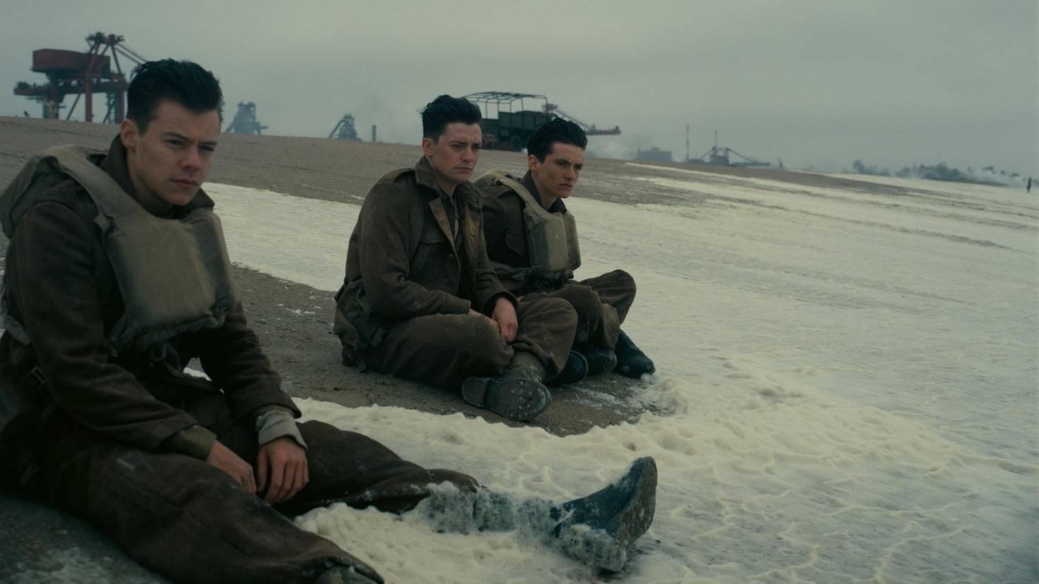 Auch Popstar Harry Styles (links) feiert in Nolans Kriegsfilm sein Hollywood-Debüt.
