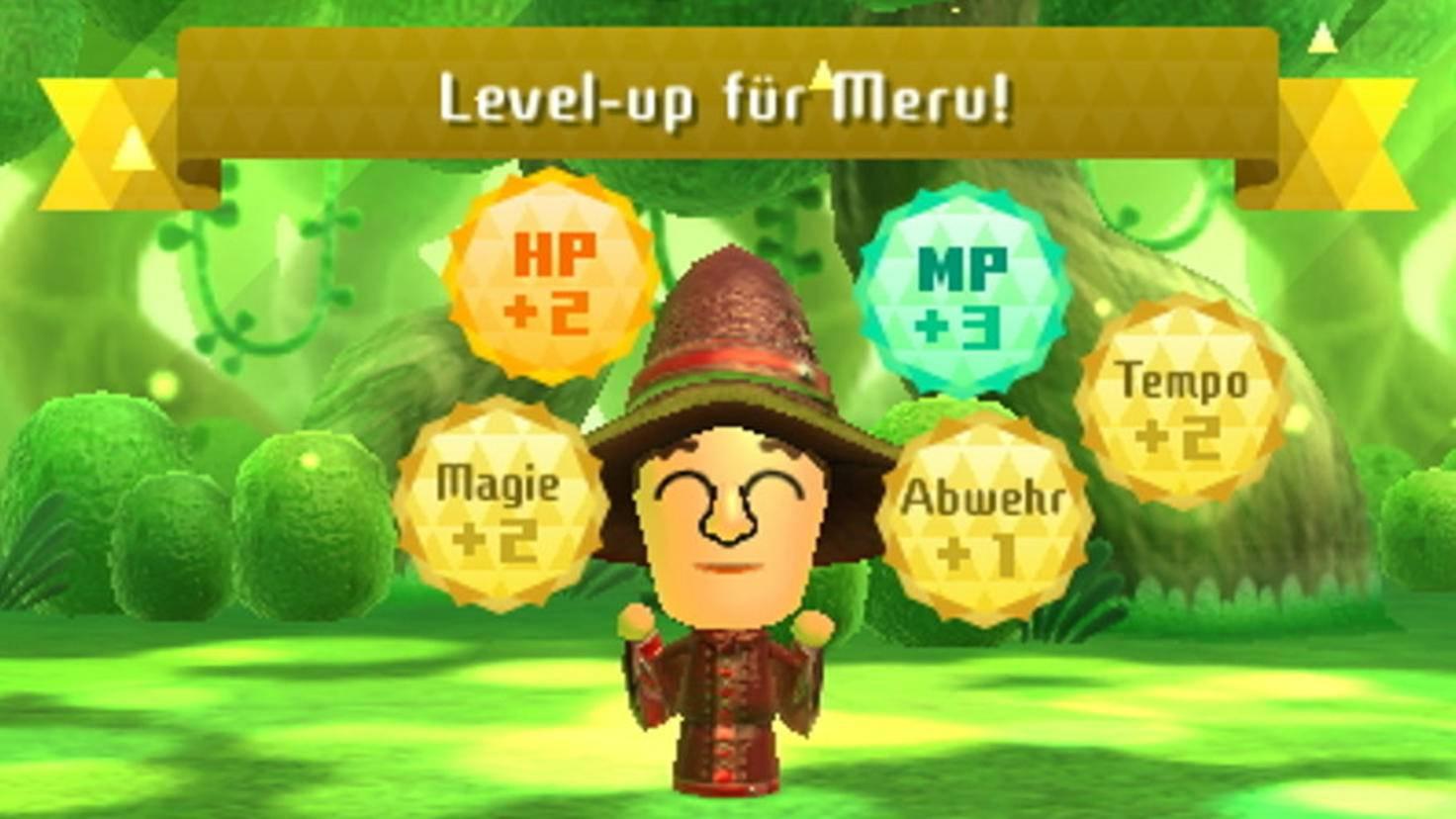 Nach Kämpfen und durch Nahrung und Ausrüstung wachsen die Fähigkeiten der Mii.