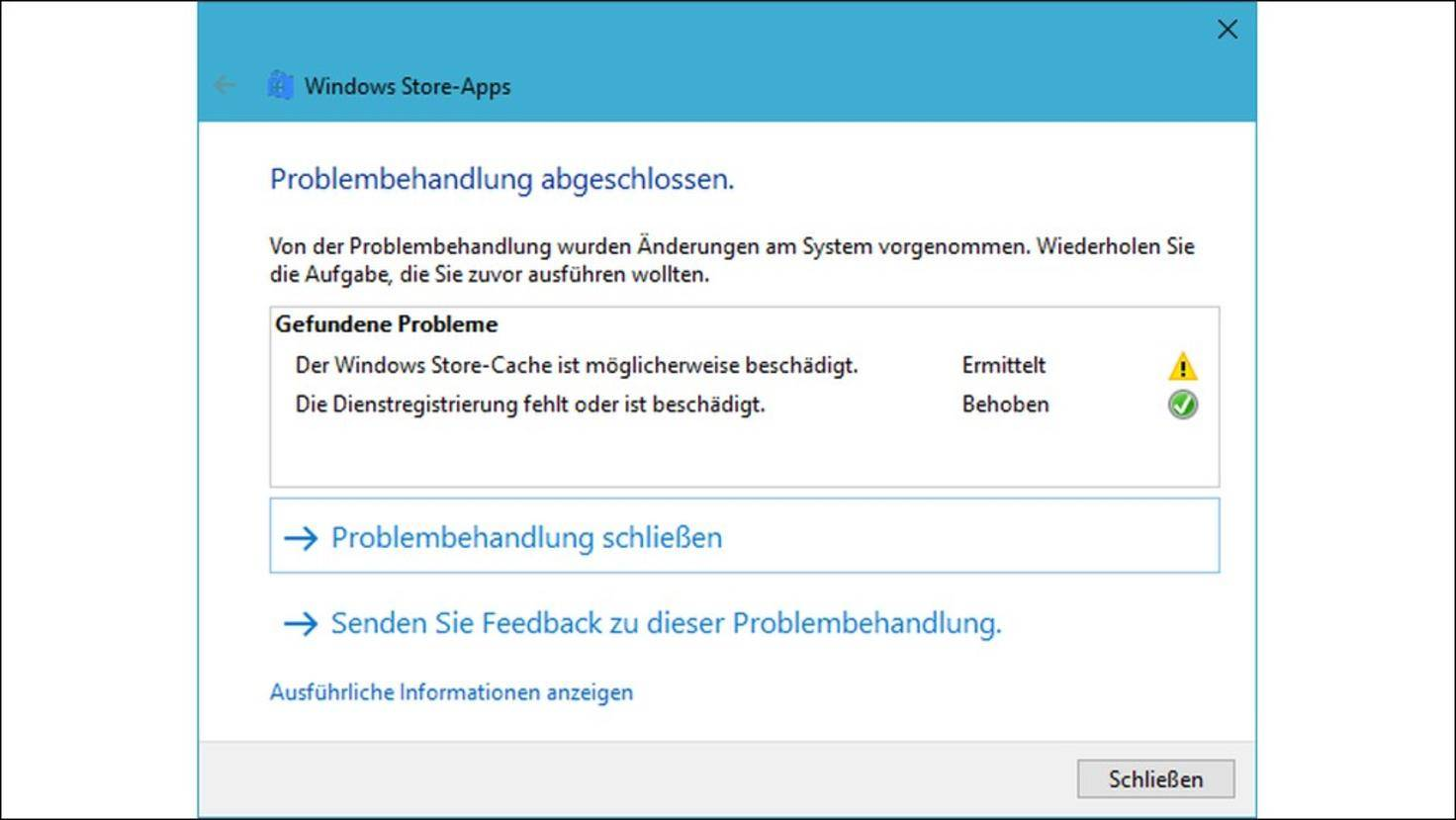 Windows-Store-Problembehandlung