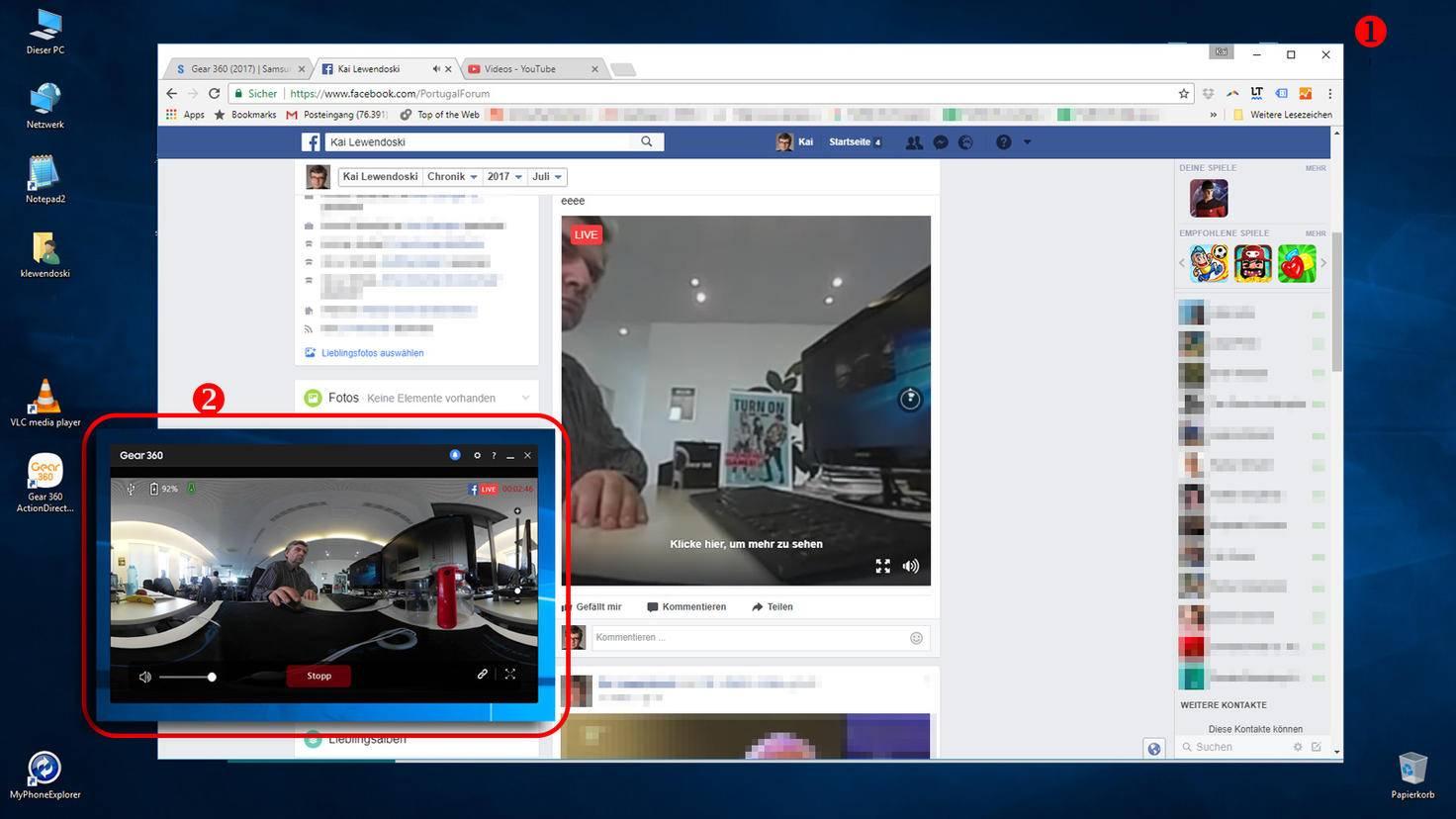 Samsung Gear 360 mit Facebook