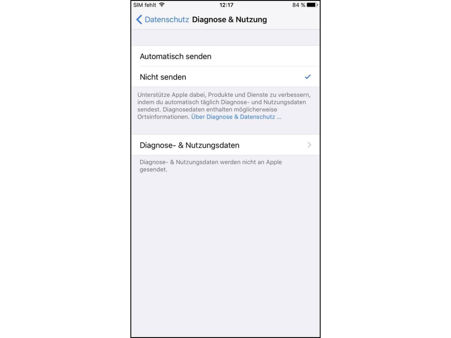 iPhone-Diagnose
