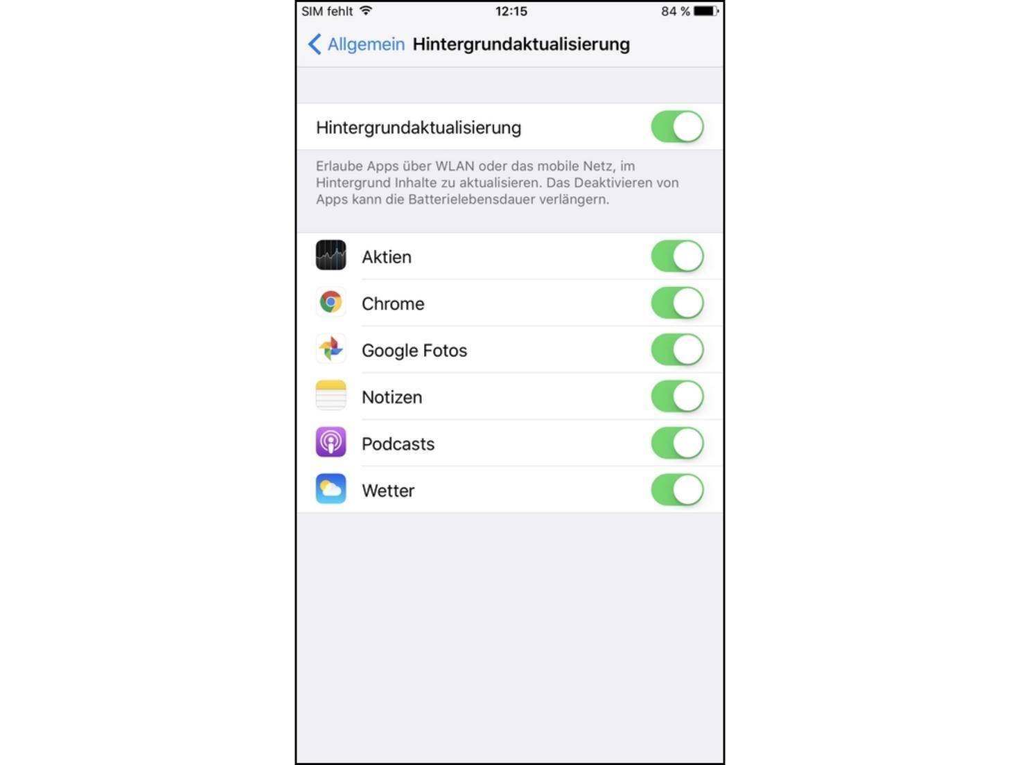 iPhone-Hintergrundaktualisierung