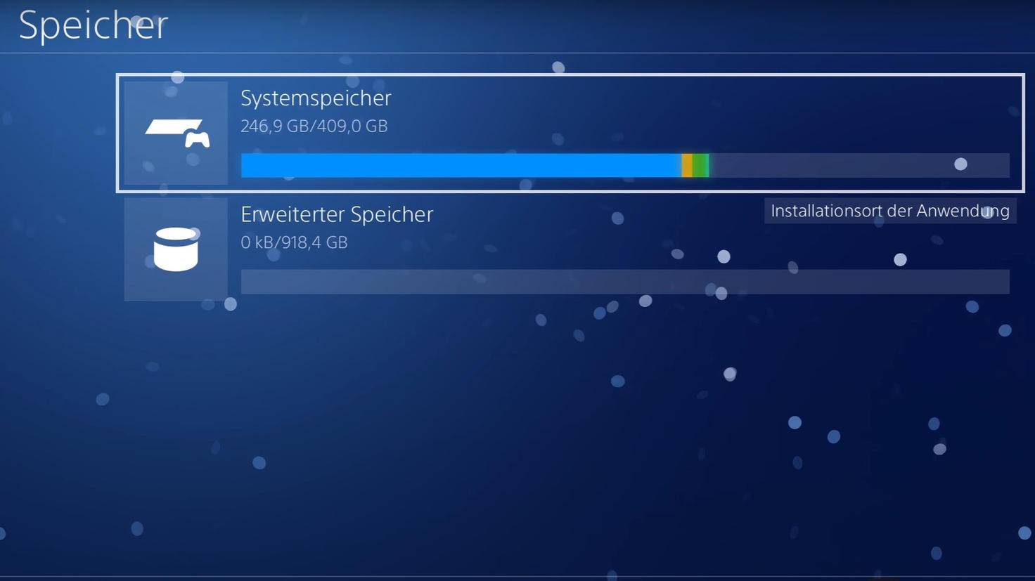 """Hast Du eine externe Festplatte an die PS4 angeschlossen, wird sie im """"Speicher""""-Menü als """"Erweiterter Speicher"""" angezeigt."""